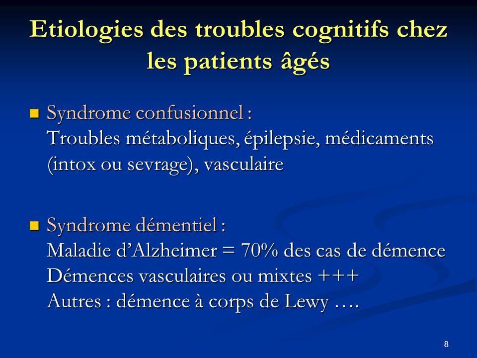 Etiologies des troubles cognitifs chez les patients âgés