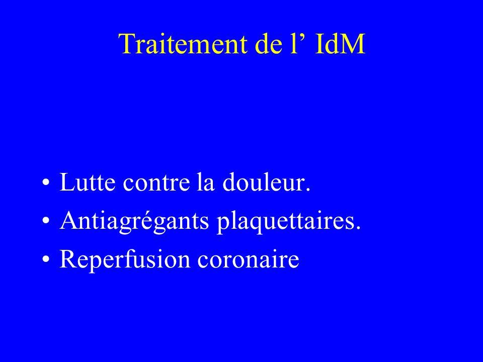 Traitement de l' IdM Lutte contre la douleur.