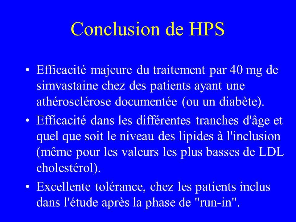 Conclusion de HPS Efficacité majeure du traitement par 40 mg de simvastaine chez des patients ayant une athérosclérose documentée (ou un diabète).