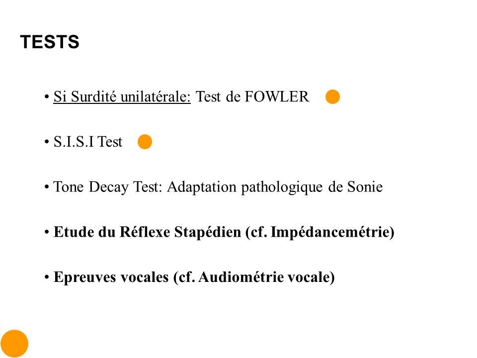 TESTS Si Surdité unilatérale: Test de FOWLER S.I.S.I Test