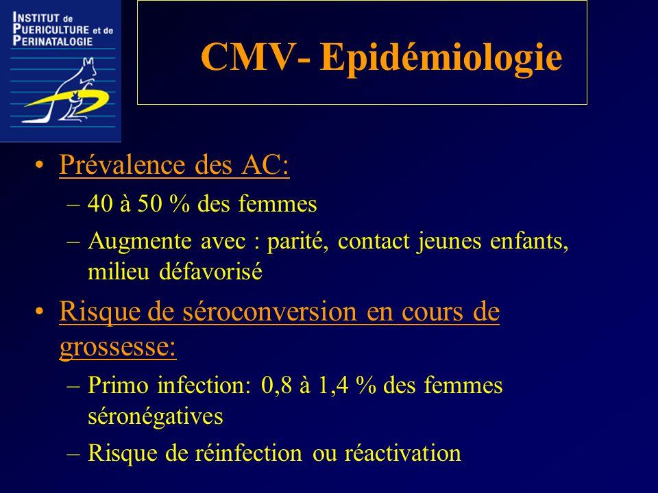 CMV- Epidémiologie Prévalence des AC: