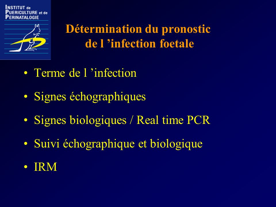 Détermination du pronostic de l 'infection foetale