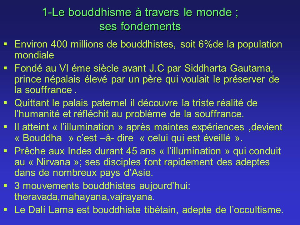 1-Le bouddhisme à travers le monde ; ses fondements