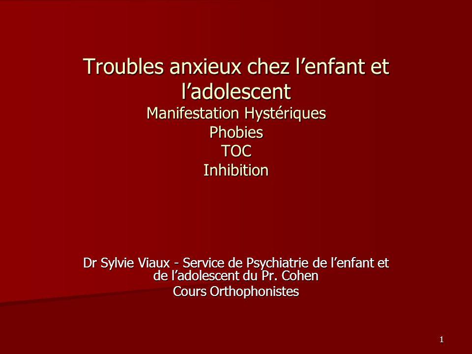 cours aux externes29/11/2004. Troubles anxieux chez l'enfant et l'adolescent Manifestation Hystériques Phobies TOC Inhibition.