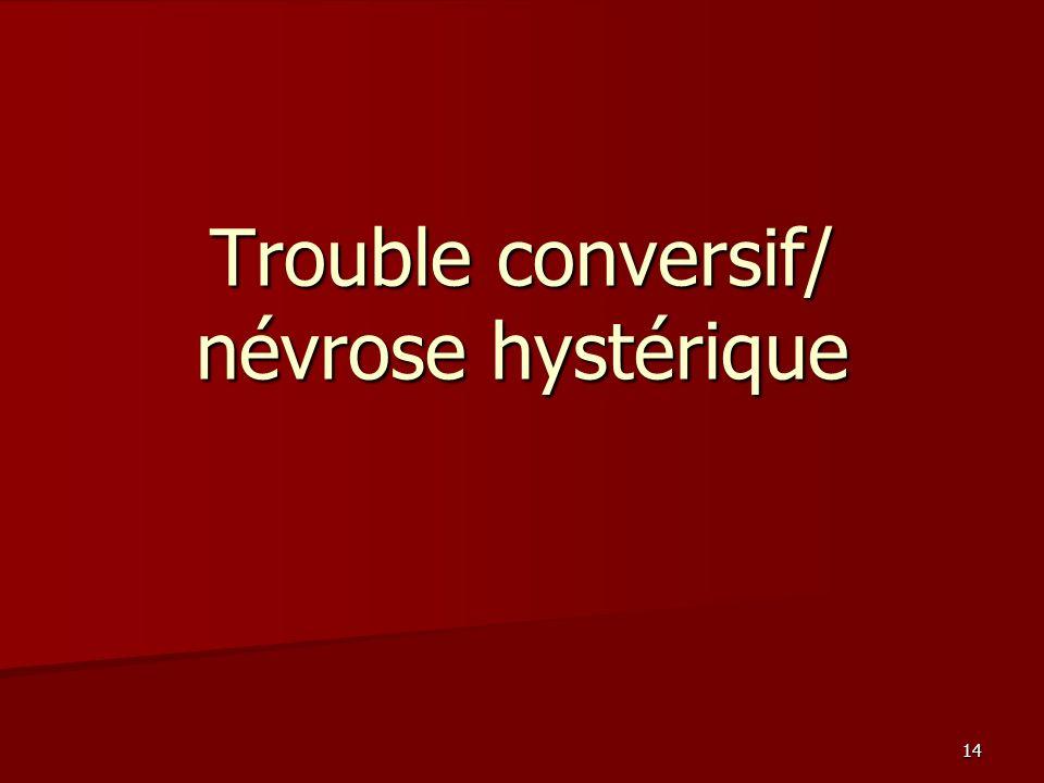 Trouble conversif/ névrose hystérique