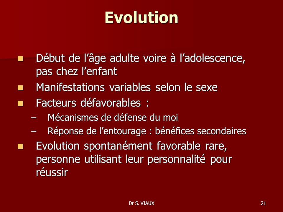 EvolutionDébut de l'âge adulte voire à l'adolescence, pas chez l'enfant. Manifestations variables selon le sexe.