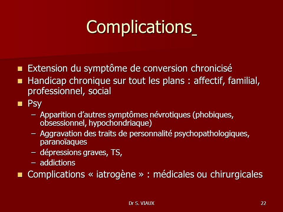Complications Extension du symptôme de conversion chronicisé