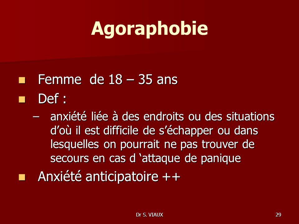 Agoraphobie Femme de 18 – 35 ans Def : Anxiété anticipatoire ++