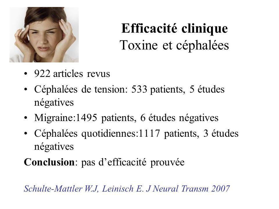 Efficacité clinique Toxine et céphalées