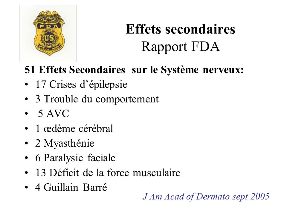 Effets secondaires Rapport FDA