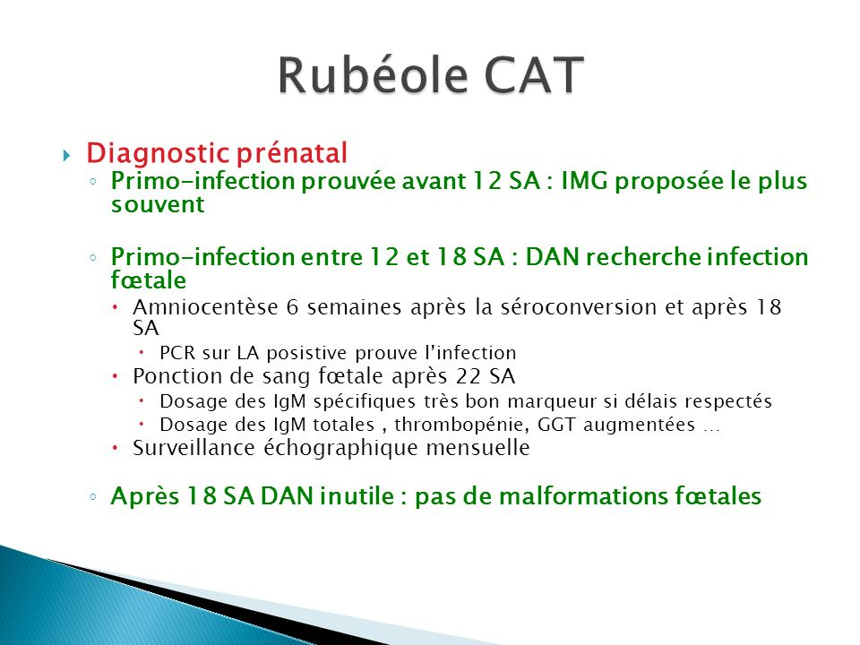 Rubéole CAT Diagnostic prénatal