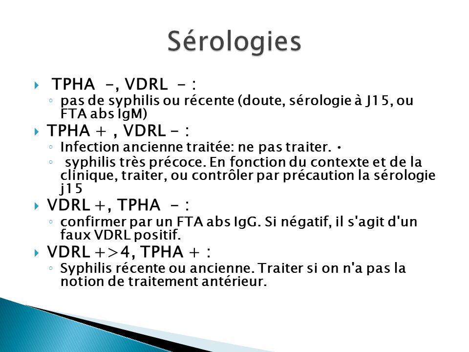 Sérologies TPHA -, VDRL - : TPHA + , VDRL - : VDRL +, TPHA - :