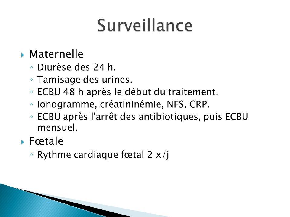 Surveillance Maternelle Fœtale Diurèse des 24 h. Tamisage des urines.