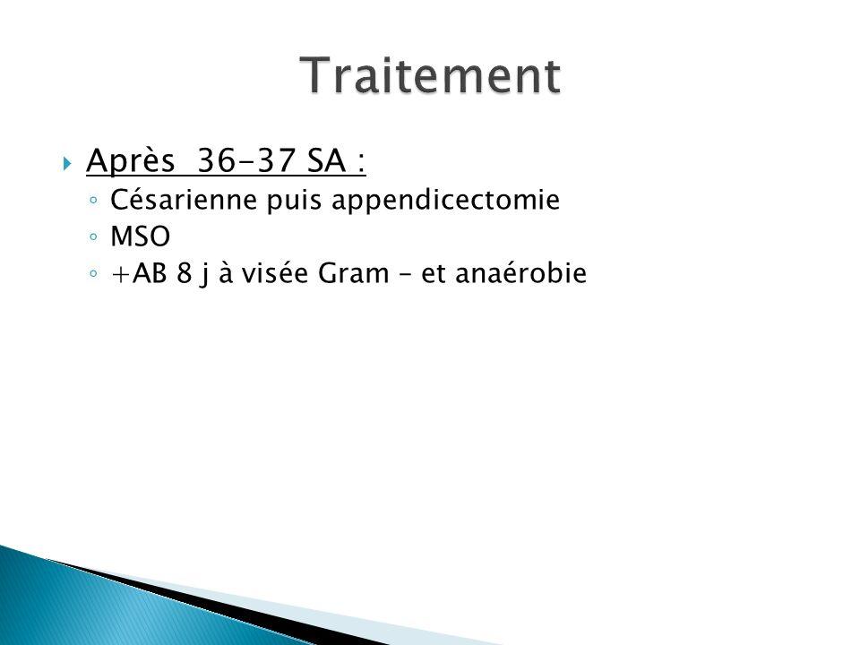 Traitement Après 36-37 SA : Césarienne puis appendicectomie MSO