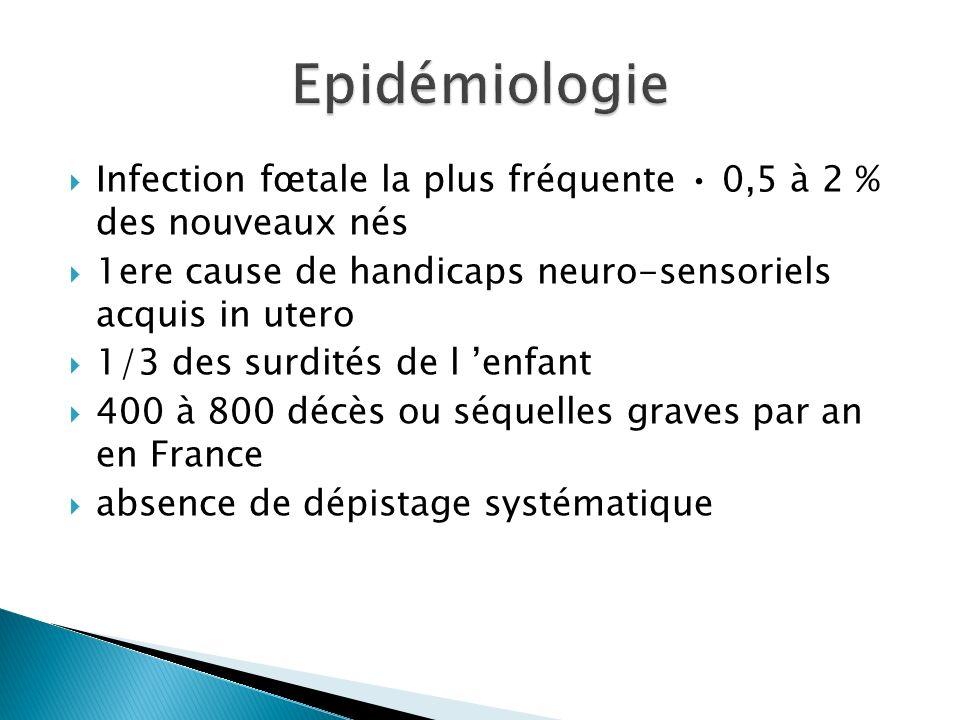 Epidémiologie Infection fœtale la plus fréquente • 0,5 à 2 % des nouveaux nés. 1ere cause de handicaps neuro-sensoriels acquis in utero.