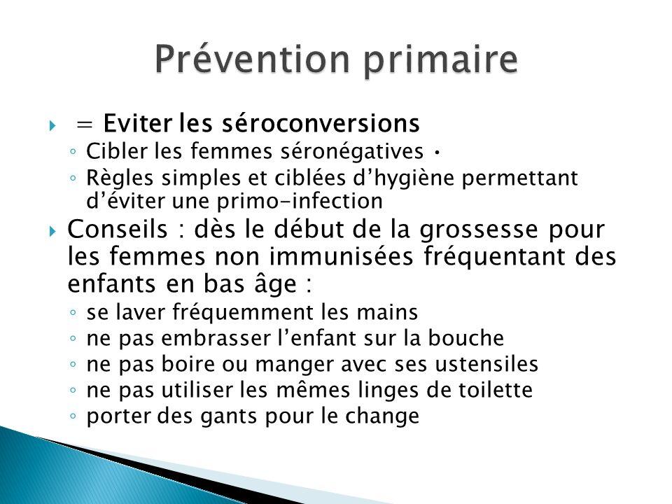 Prévention primaire = Eviter les séroconversions