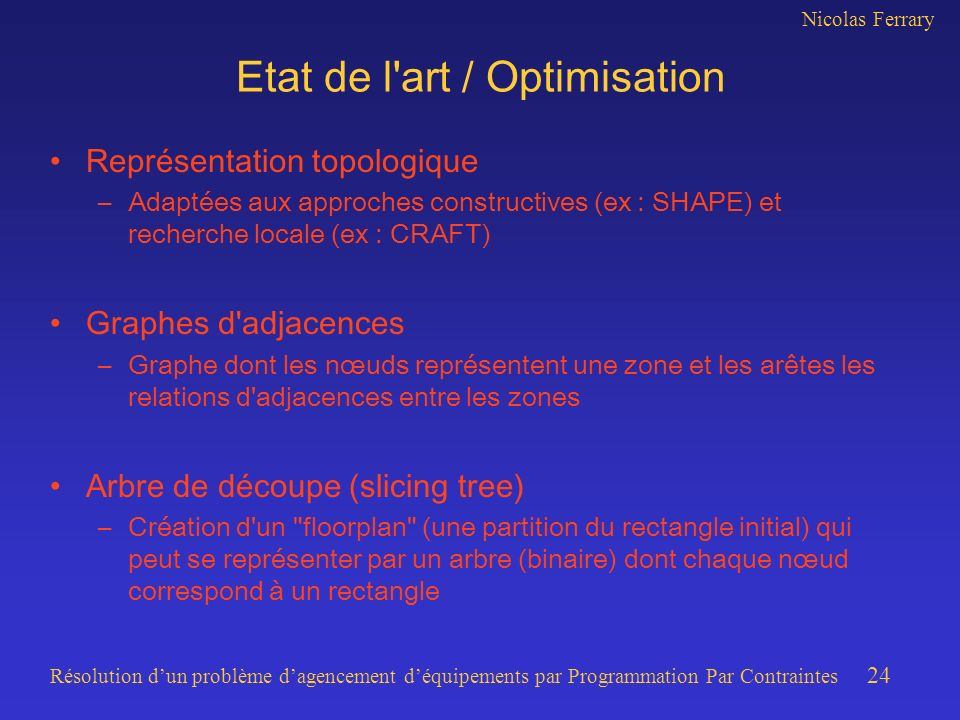 Etat de l art / Optimisation
