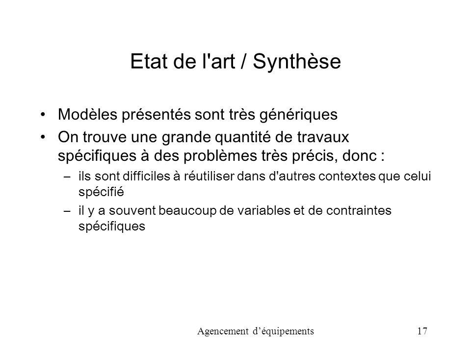 Etat de l art / Synthèse Modèles présentés sont très génériques