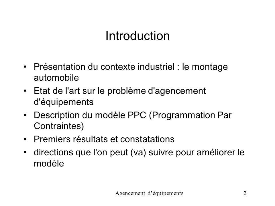 Introduction Présentation du contexte industriel : le montage automobile. Etat de l art sur le problème d agencement d équipements.