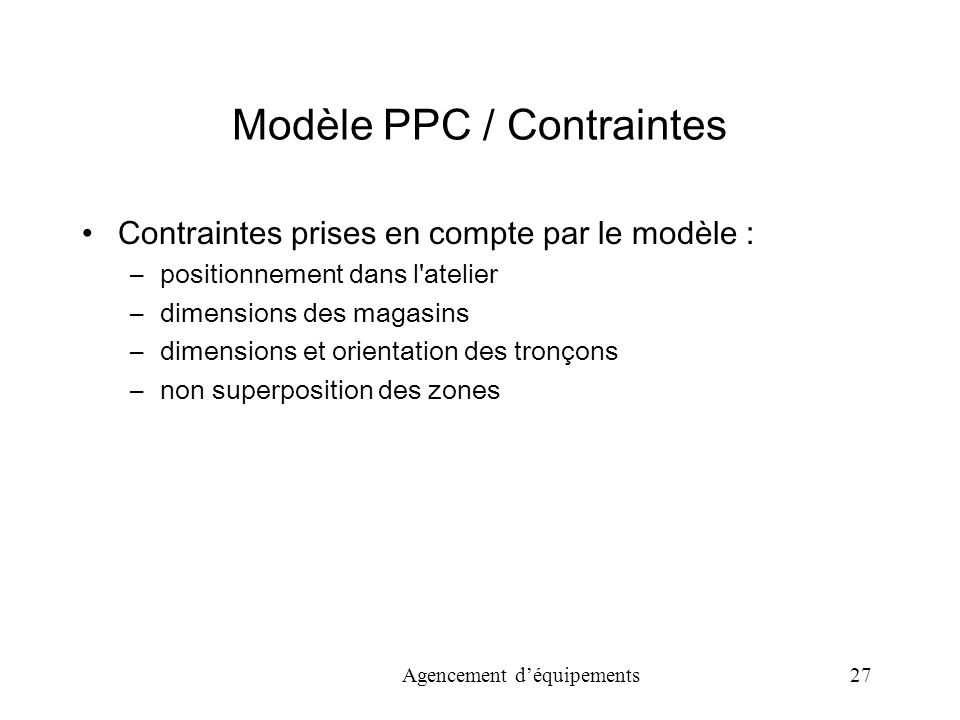 Modèle PPC / Contraintes