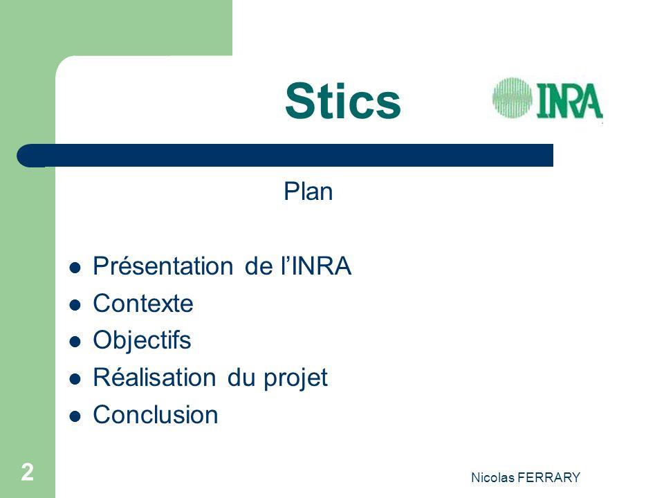 Stics Plan Présentation de l'INRA Contexte Objectifs