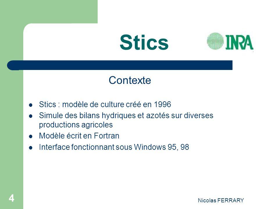 Stics Contexte Stics : modèle de culture créé en 1996