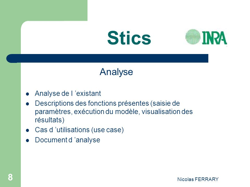 Stics Analyse Analyse de l 'existant