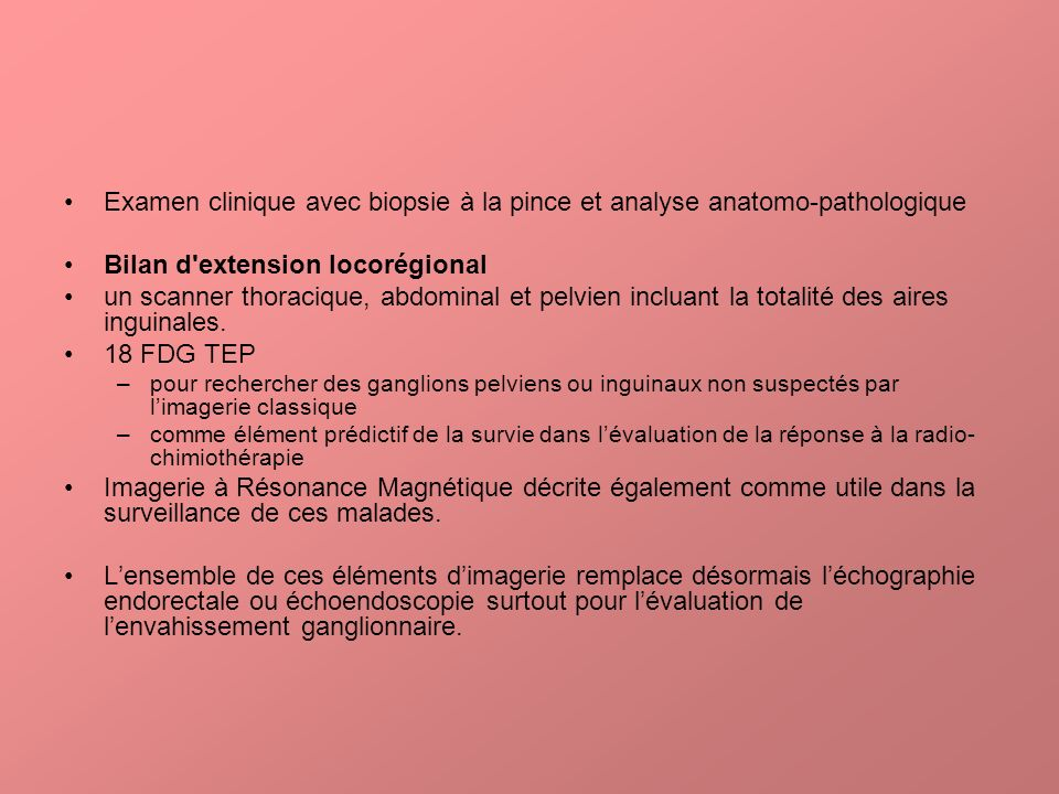 Bilan d extension locorégional
