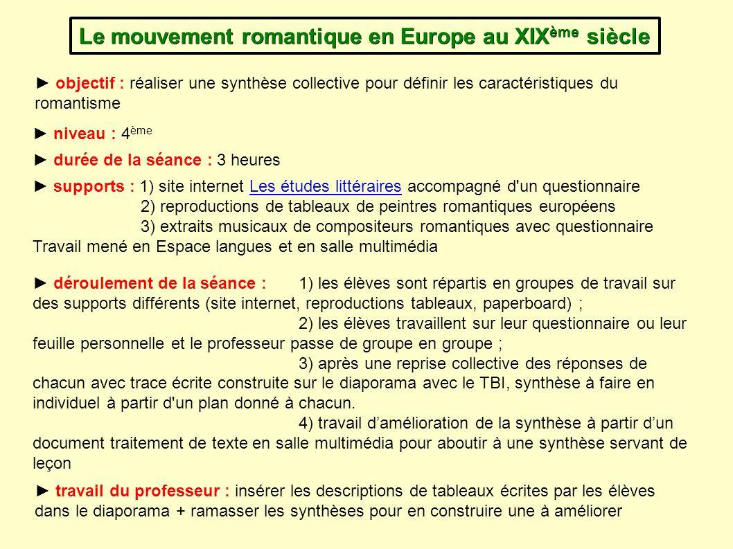 Le mouvement romantique en Europe au XIXème siècle