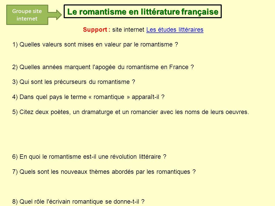 Le romantisme en littérature française