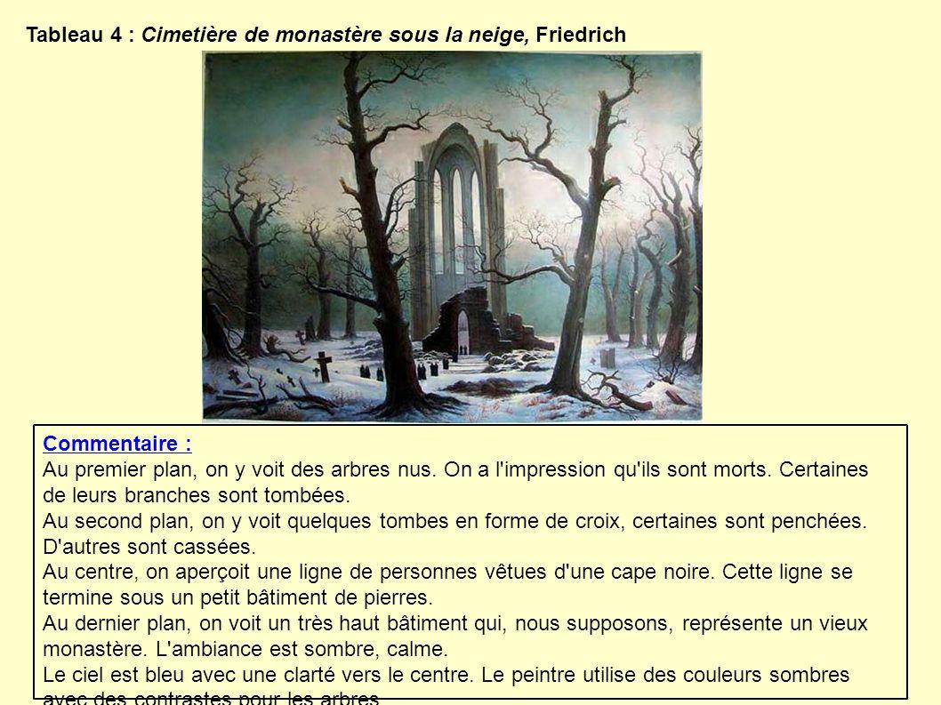 Tableau 4 : Cimetière de monastère sous la neige, Friedrich