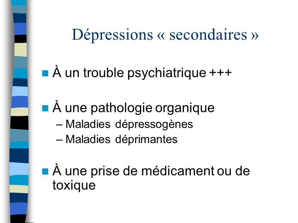 Dépressions « secondaires »