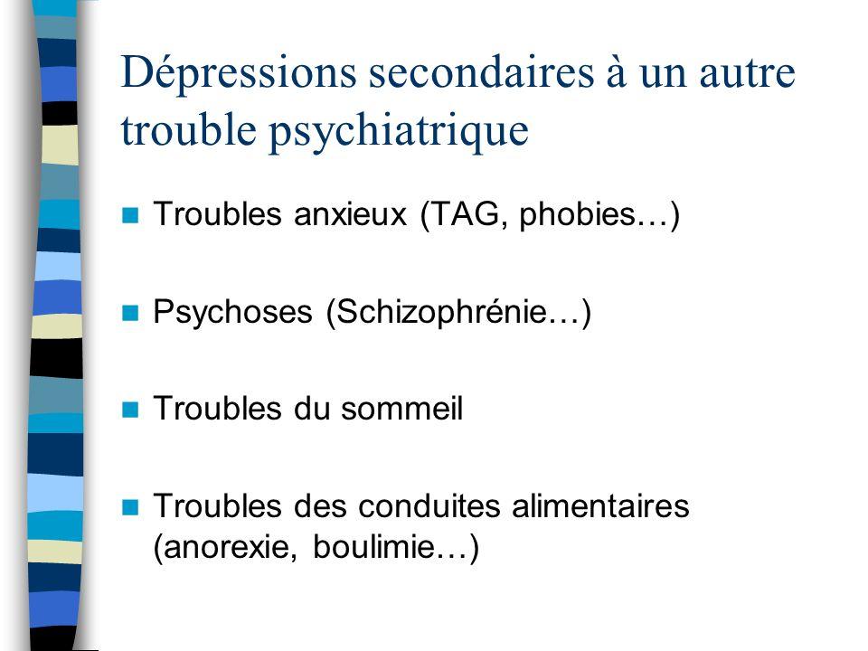 Dépressions secondaires à un autre trouble psychiatrique