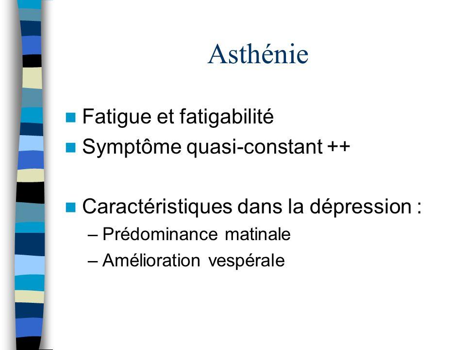 Asthénie Fatigue et fatigabilité Symptôme quasi-constant ++