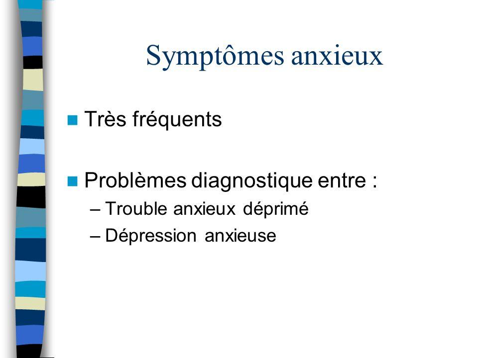 Symptômes anxieux Très fréquents Problèmes diagnostique entre :