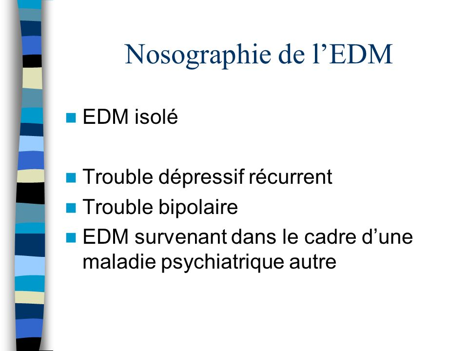 Nosographie de l'EDM EDM isolé Trouble dépressif récurrent