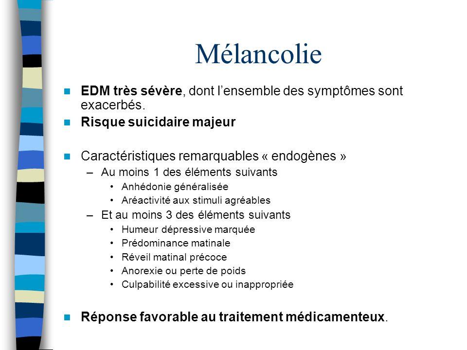 MélancolieEDM très sévère, dont l'ensemble des symptômes sont exacerbés. Risque suicidaire majeur. Caractéristiques remarquables « endogènes »