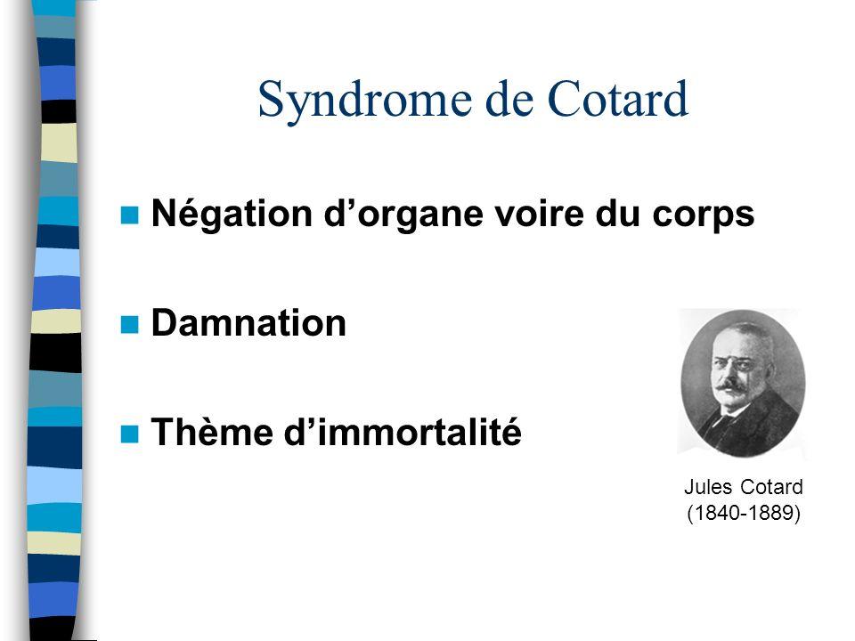Syndrome de Cotard Négation d'organe voire du corps Damnation