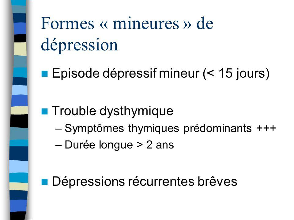 Formes « mineures » de dépression