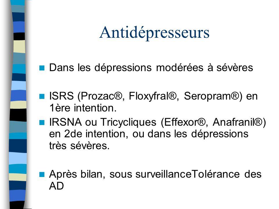 Antidépresseurs Dans les dépressions modérées à sévères
