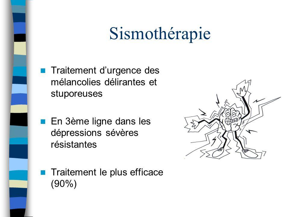 Sismothérapie Traitement d'urgence des mélancolies délirantes et stuporeuses. En 3ème ligne dans les dépressions sévères résistantes.