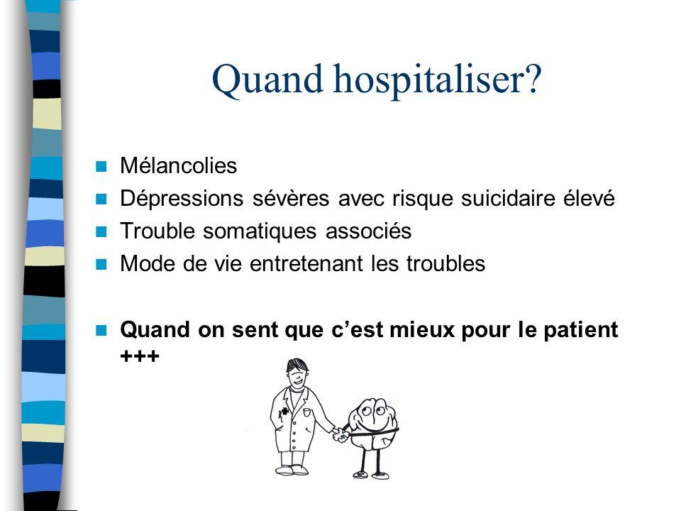 Quand hospitaliser Mélancolies