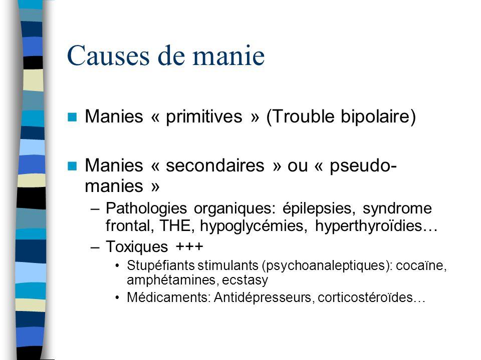 Causes de manie Manies « primitives » (Trouble bipolaire)