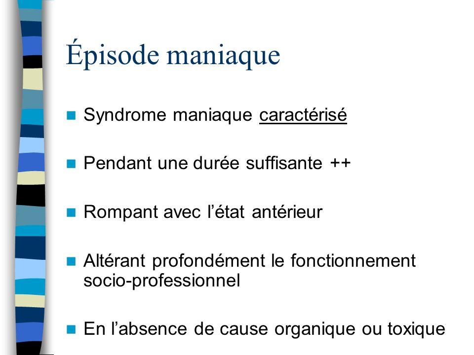 Épisode maniaque Syndrome maniaque caractérisé