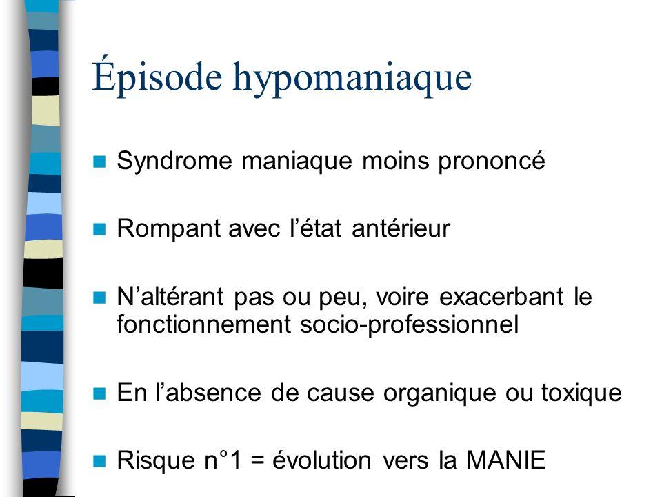 Épisode hypomaniaque Syndrome maniaque moins prononcé