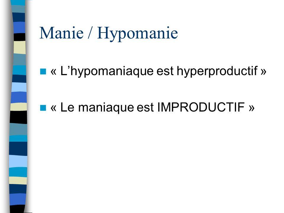 Manie / Hypomanie « L'hypomaniaque est hyperproductif »