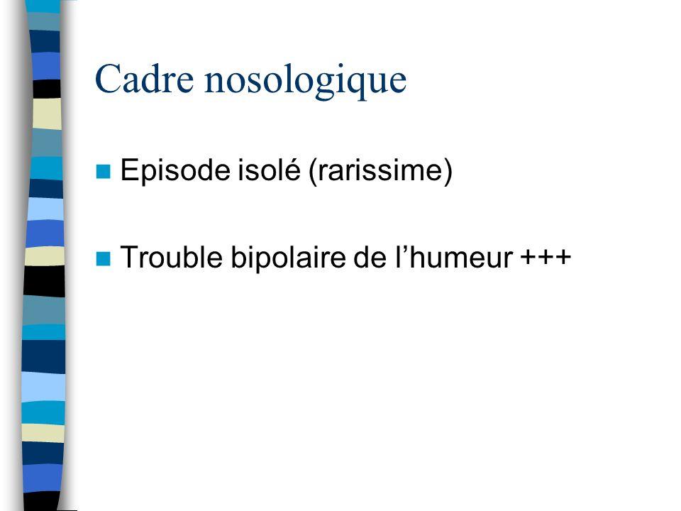 Cadre nosologique Episode isolé (rarissime)