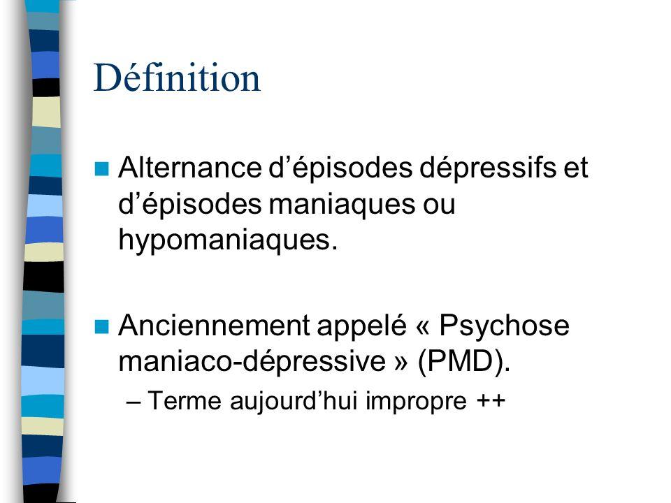 DéfinitionAlternance d'épisodes dépressifs et d'épisodes maniaques ou hypomaniaques. Anciennement appelé « Psychose maniaco-dépressive » (PMD).