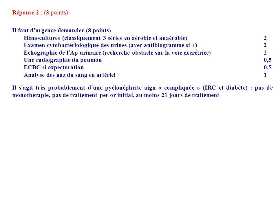 Réponse 2 : (8 points) Il faut d'urgence demander (8 points) Hémocultures (classiquement 3 séries en aérobie et anaérobie) 2.