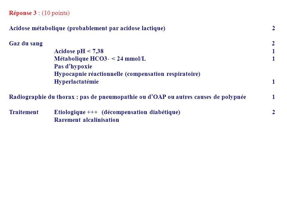 Réponse 3 : (10 points) Acidose métabolique (probablement par acidose lactique) 2.